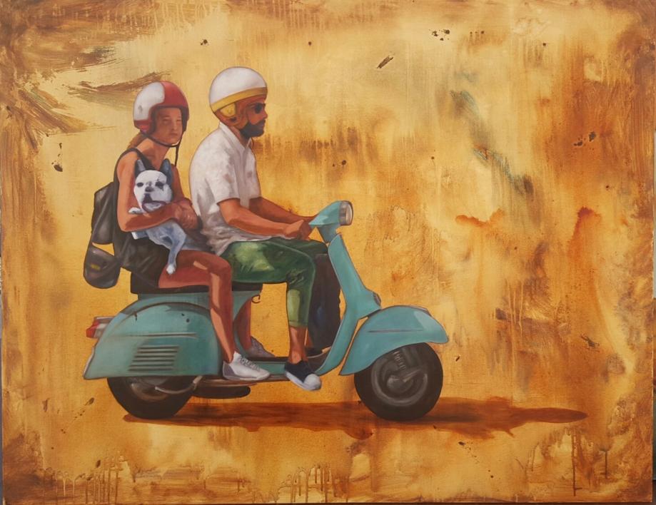 Paseo en moto en Ibiza |Pintura de Miguel Ángel García López | Compra arte en Flecha.es