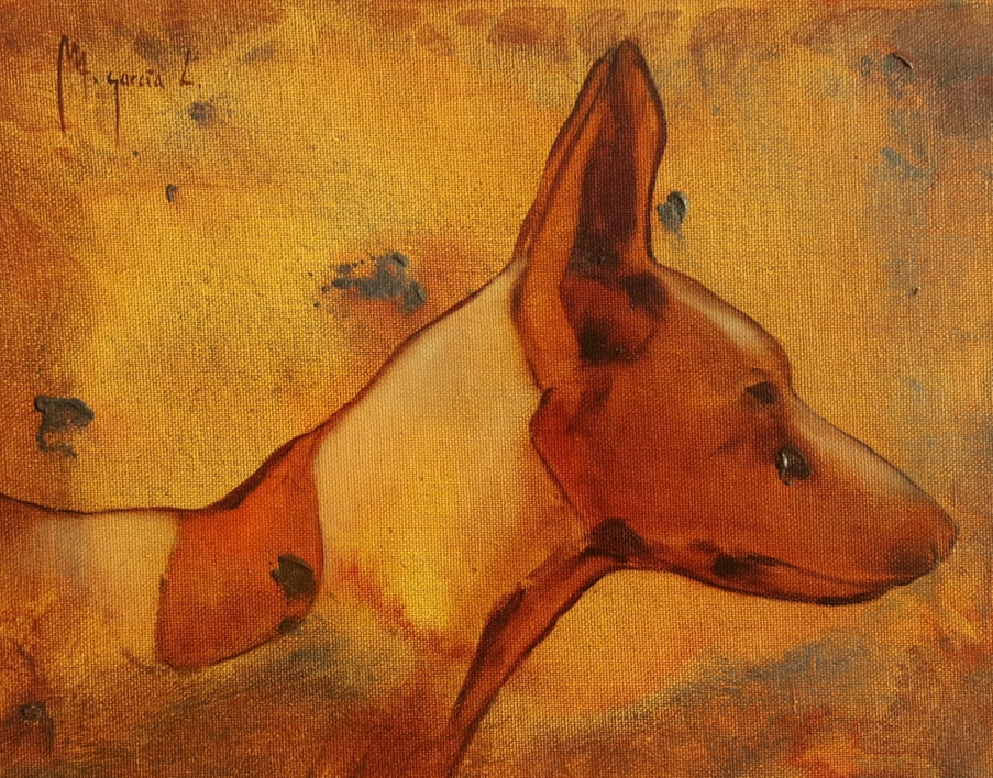Cabeza de podenco n°22 |Pintura de Miguel Ángel García López | Compra arte en Flecha.es