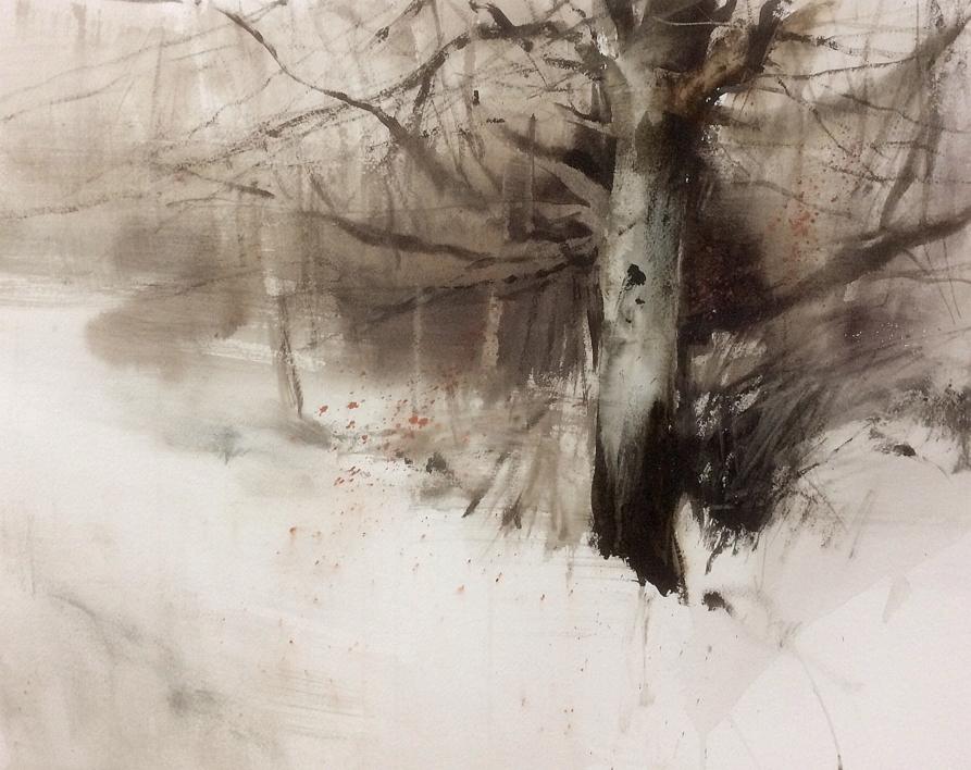 Troncos en la nieve  Pintura de Francisco Castro   Compra arte en Flecha.es