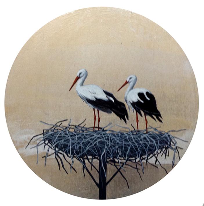 Cigüeñas redondo pequeño 3 |Pintura de Charlotte Adde | Compra arte en Flecha.es