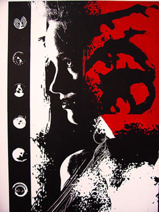 DAMA CON BOTÓN |Obra gráfica de androck | Compra arte en Flecha.es