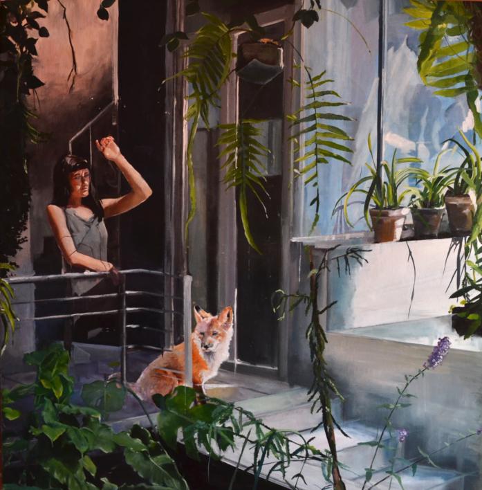 La chica y el zorro |Pintura de Marta Albarsanz | Compra arte en Flecha.es