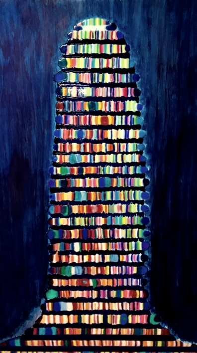 Torre de Babel azul |Pintura de Yanespaintings | Compra arte en Flecha.es