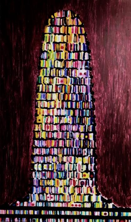 Torre de Babel granate |Pintura de Yanespaintings | Compra arte en Flecha.es