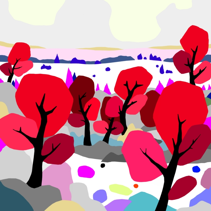 Árboles rojos |Digital de ALEJOS | Compra arte en Flecha.es