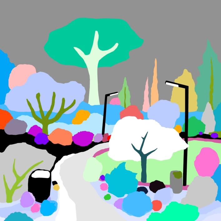 El parque de los pavos |Dibujo de ALEJOS | Compra arte en Flecha.es