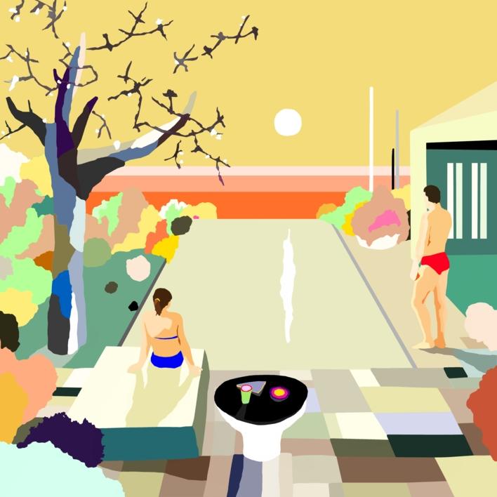 La piscina del hotel |Dibujo de ALEJOS | Compra arte en Flecha.es