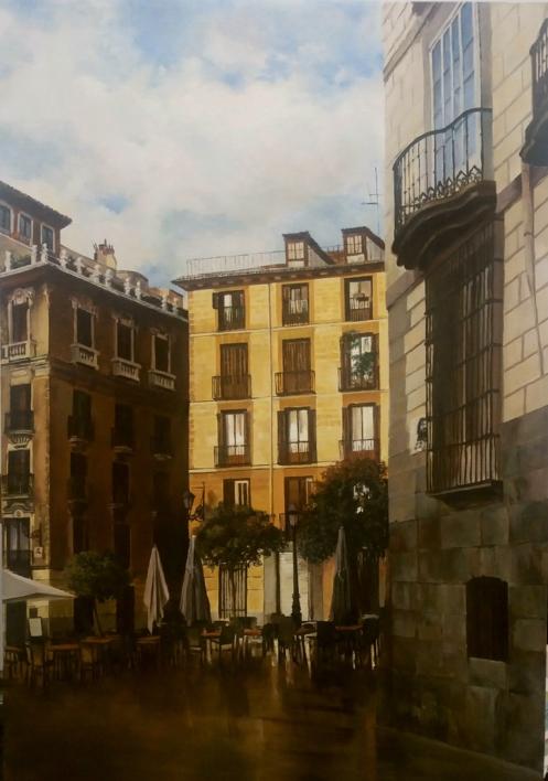 Plaza de Ramales  Pintura de Carmen Nieto   Compra arte en Flecha.es