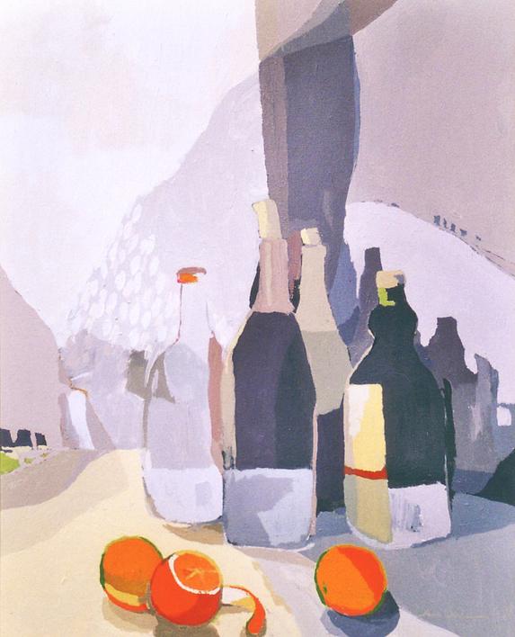 Botellas y naranjas |Pintura de Javier AOIZ ORDUNA | Compra arte en Flecha.es