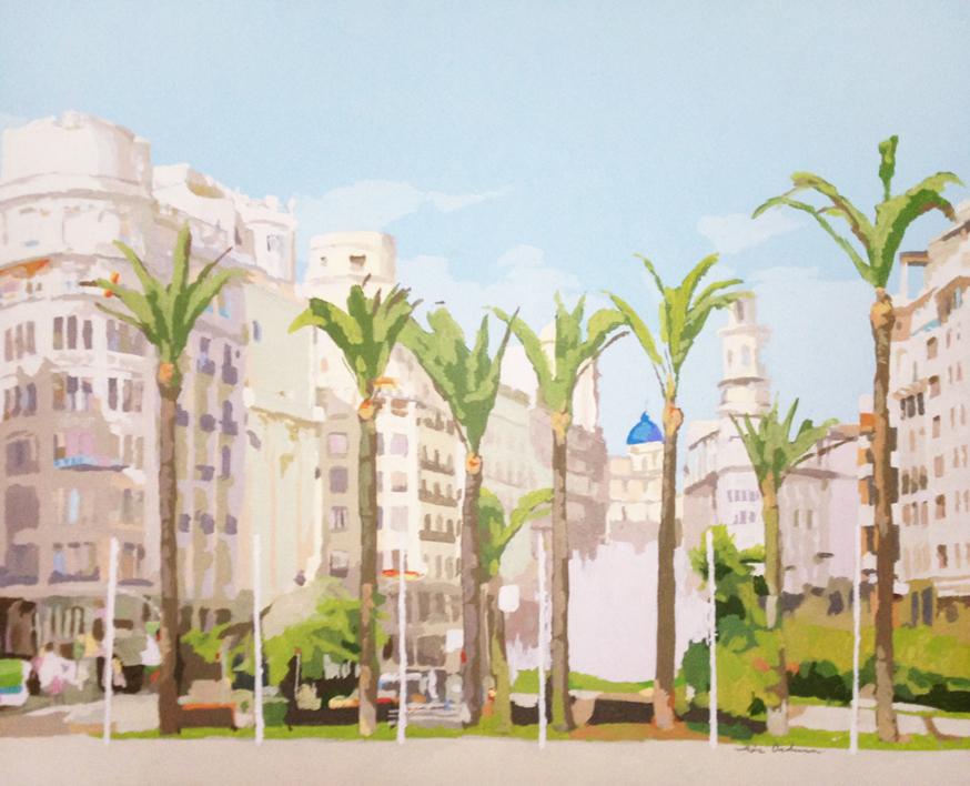 Ocho palmeras |Pintura de Javier AOIZ ORDUNA | Compra arte en Flecha.es