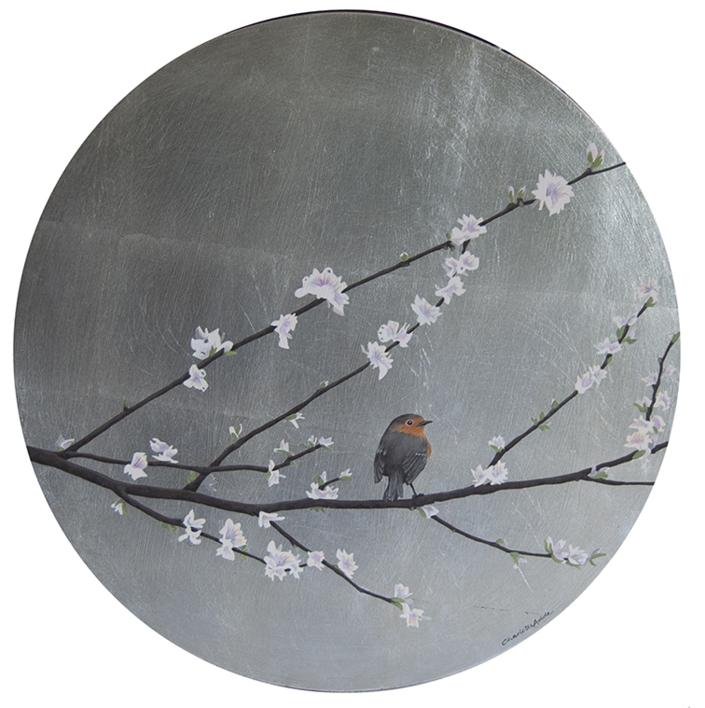 Almendro en flor y petirrojo, redondo  Pintura de Charlotte Adde   Compra arte en Flecha.es