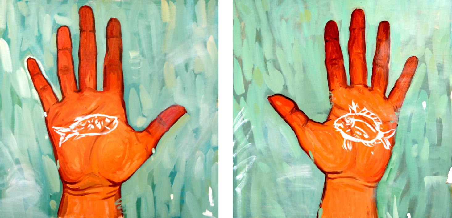 Manitas de pez  Pintura de Claudia Suárez   Compra arte en Flecha.es