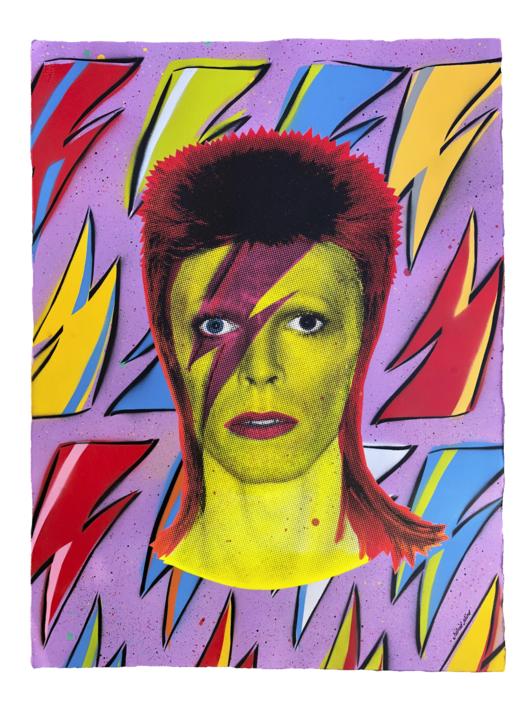 David Bowie (Flash-Lilac) |Pintura de Silvio Alino | Compra arte en Flecha.es