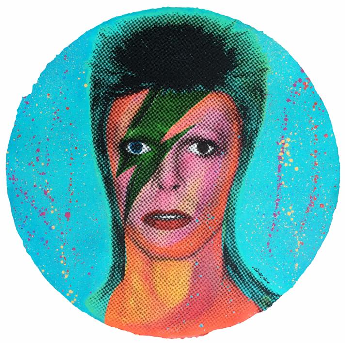 David Bowie (Red-Orange Fluorescent) |Pintura de Silvio Alino | Compra arte en Flecha.es