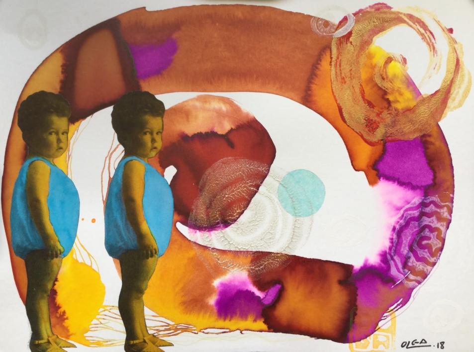 Dos bebés |Collage de Olga Moreno Maza | Compra arte en Flecha.es