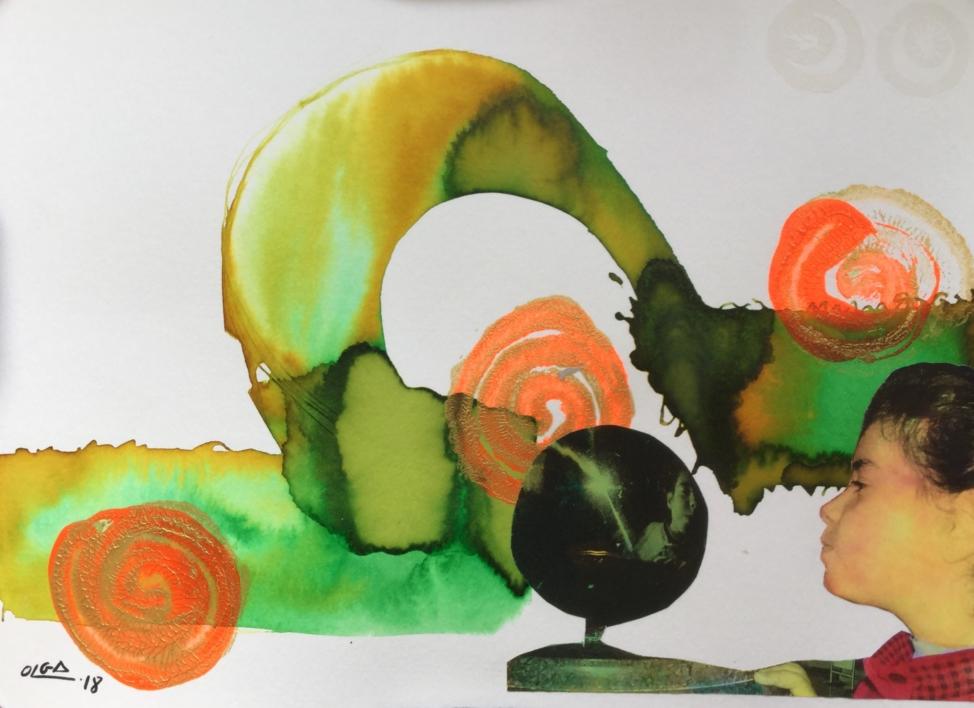 La bola del mundo |Collage de Olga Moreno Maza | Compra arte en Flecha.es