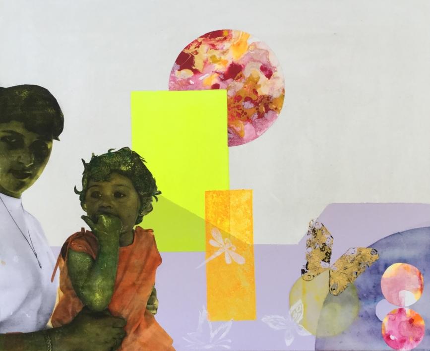 El tren  del  parque |Collage de Olga Moreno Maza | Compra arte en Flecha.es