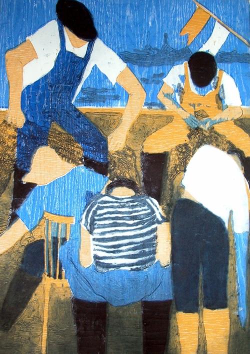 Los pescadores III |Obra gráfica de Jenifer Carey | Compra arte en Flecha.es