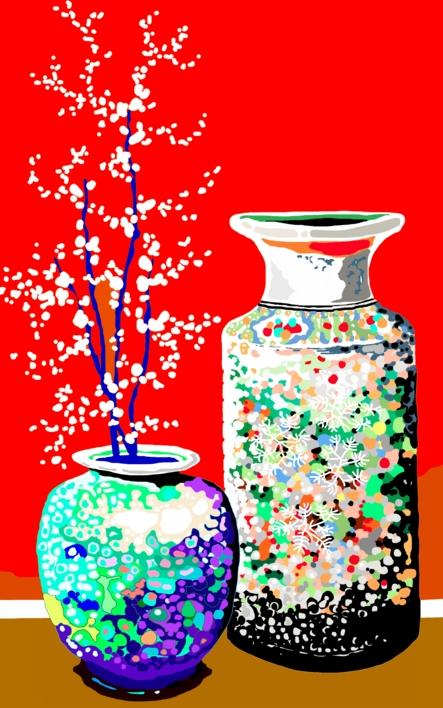Dos jarrones chinos |Dibujo de ALEJOS | Compra arte en Flecha.es