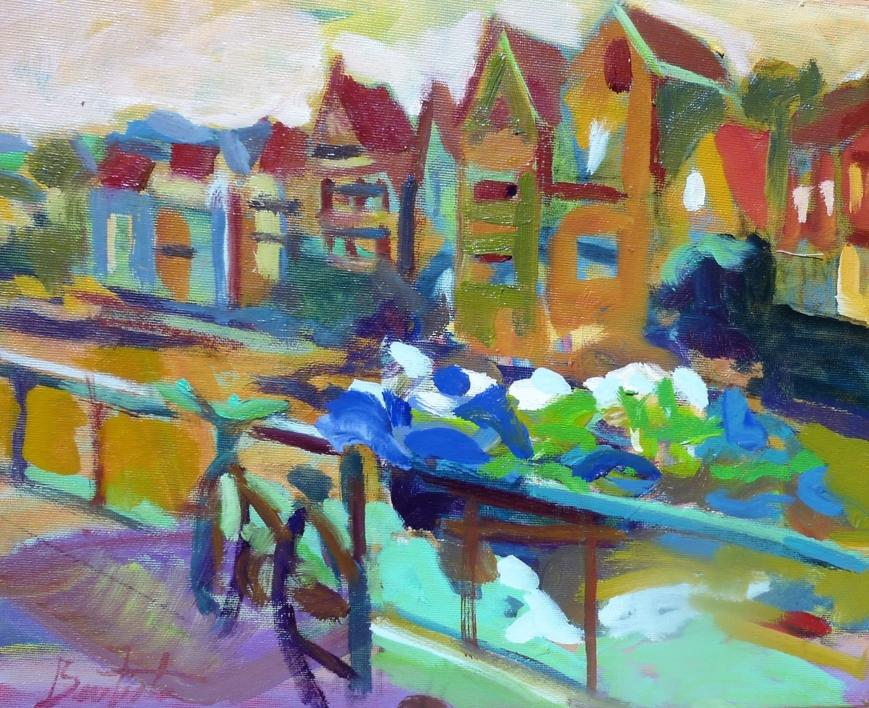 La bici del canal |Pintura de José Bautista | Compra arte en Flecha.es