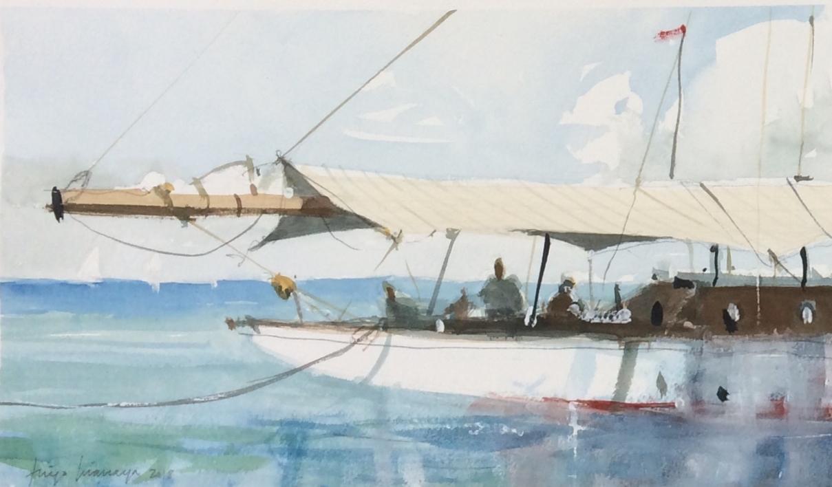 En el puerto |Pintura de Iñigo Lizarraga | Compra arte en Flecha.es