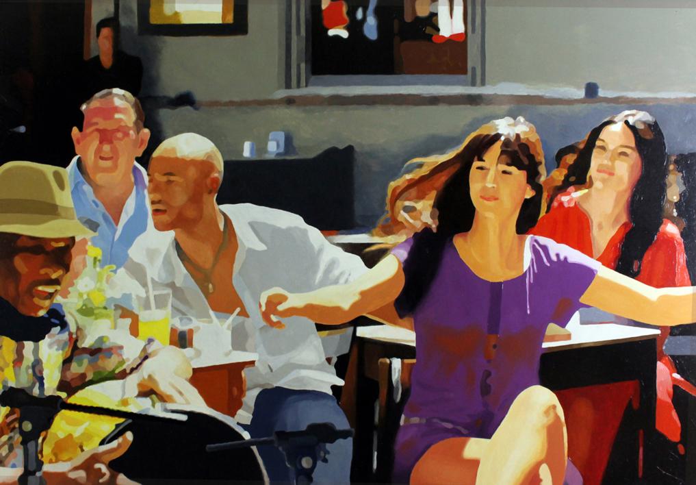 Terraza con salsa |Pintura de Jose Belloso | Compra arte en Flecha.es