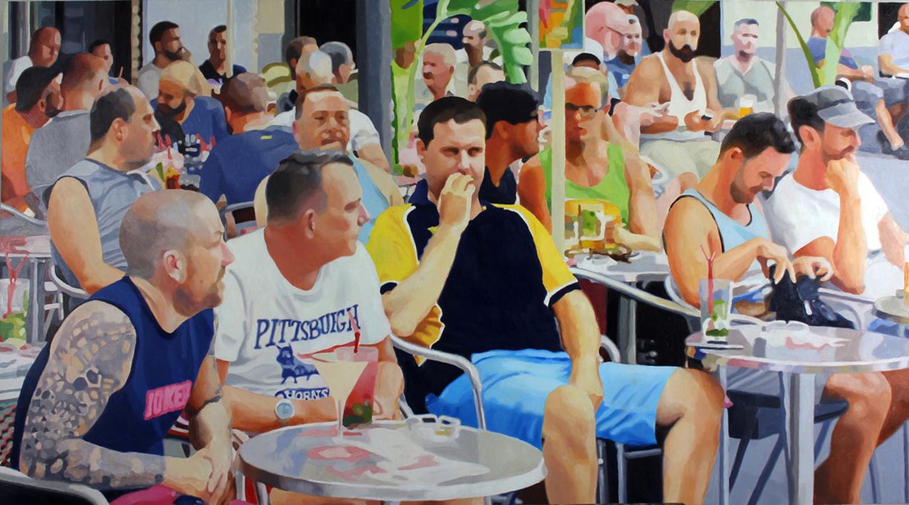 Terraza de Sitges (miradas) |Pintura de Jose Belloso | Compra arte en Flecha.es