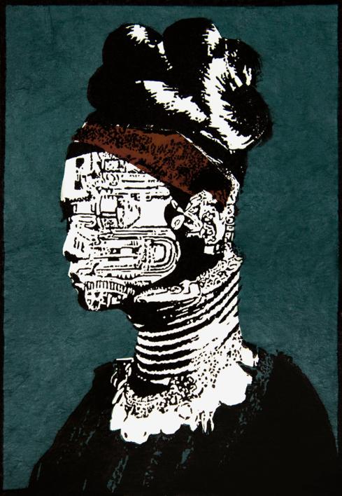 Tribu Kayan |Collage de Alicia Calbet | Compra arte en Flecha.es