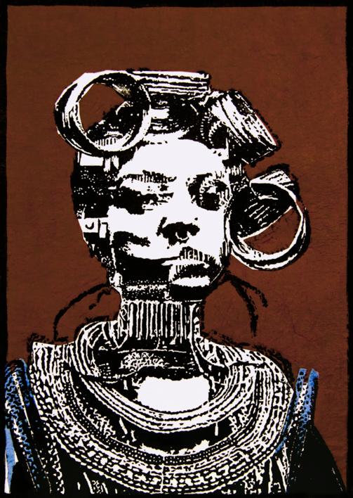 Tribu Mursi |Collage de Alicia Calbet | Compra arte en Flecha.es