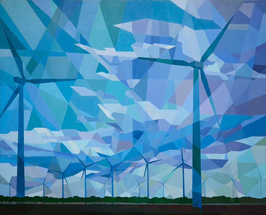 Aerogeneradores  Pintura de Luis Monroy Esteban   Compra arte en Flecha.es