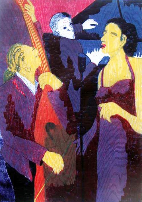 Jazz trío con cantante morado |Obra gráfica de Jenifer Carey | Compra arte en Flecha.es