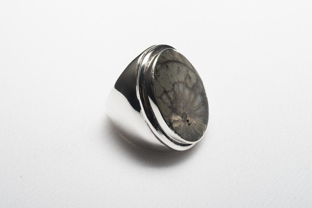 Anillo de plata 950 y fósil |Joyería de Ester Ventura | Compra arte en Flecha.es