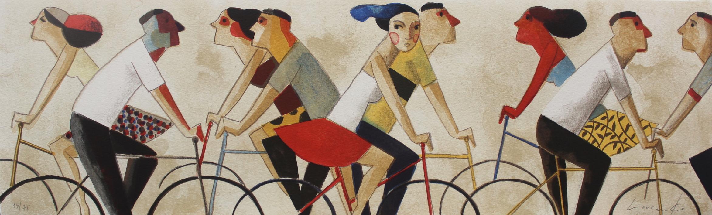 En Bici |Obra gráfica de Didier Lourenço | Compra arte en Flecha.es