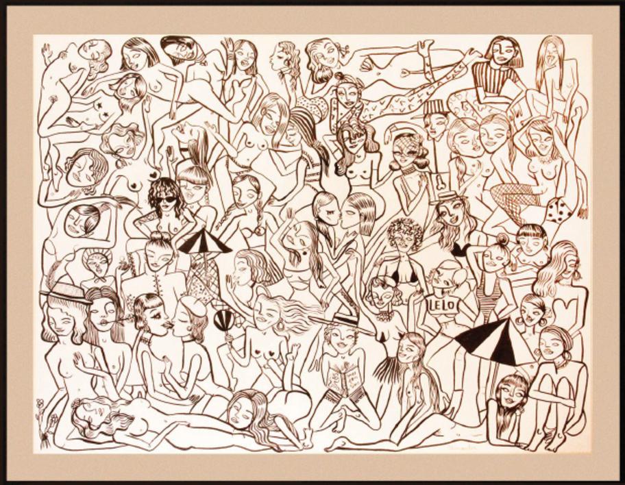 Des gens sympas |Dibujo de Miranda Makaroff | Compra arte en Flecha.es
