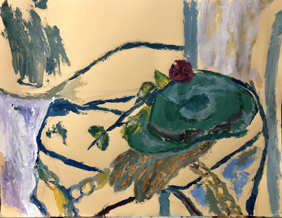 BODEGÓN CON SOMBRERO Y ROSA |Pintura de Iraide Garitaonandia | Compra arte en Flecha.es