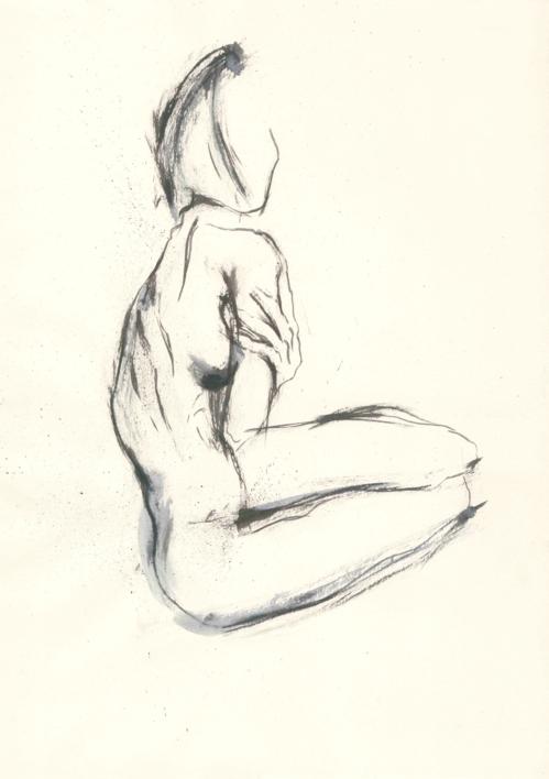 A woman touches herself |Ilustración de Valero | Compra arte en Flecha.es