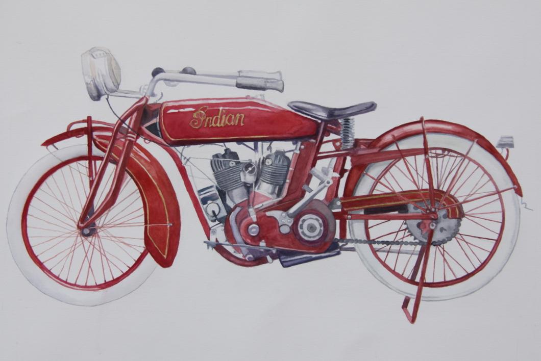 Moto India Scout 1927 |Pintura de Miguel Ortega Mesa | Compra arte en Flecha.es