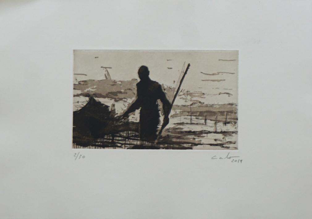 Pescadores de bagamoyo n 1  Obra gráfica de Calo Carratalá   Compra arte en Flecha.es