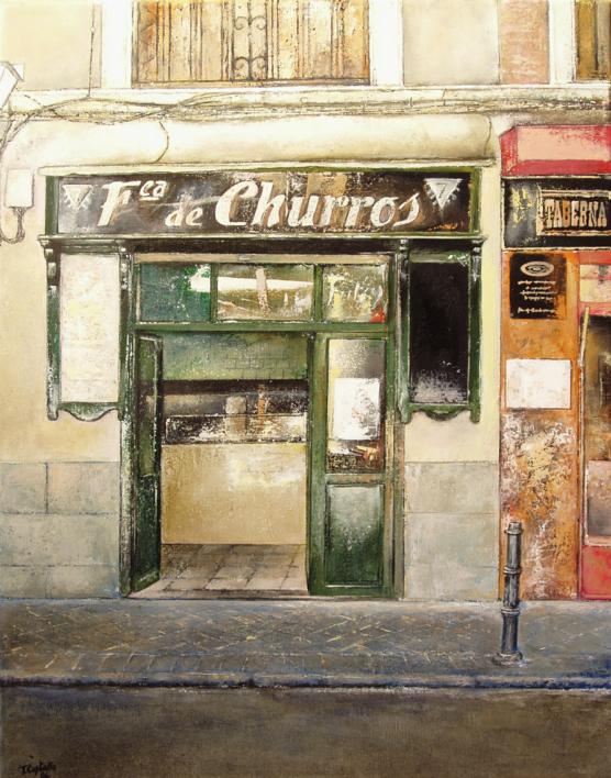 Fábrica de Churros- Cava baja- Madrid |Pintura de TOMAS CASTAÑO | Compra arte en Flecha.es