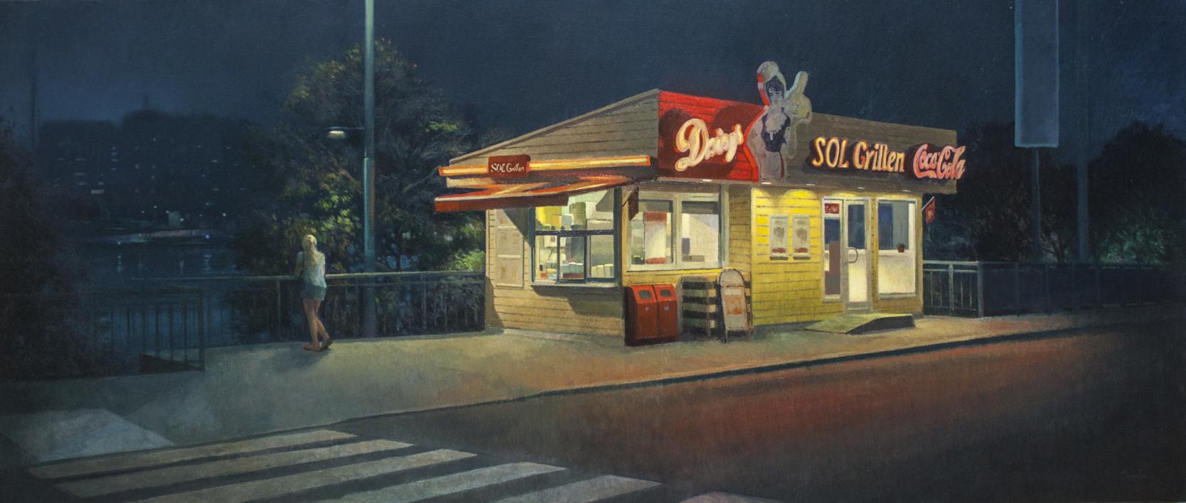 Paseo nocturno |Pintura de Orrite | Compra arte en Flecha.es