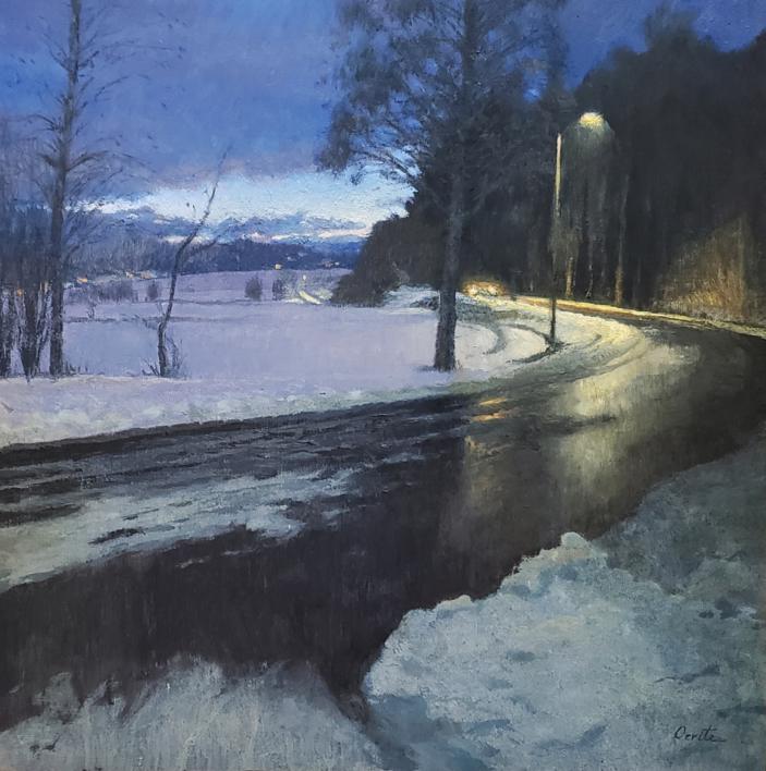Carretera en invierno |Pintura de Orrite | Compra arte en Flecha.es