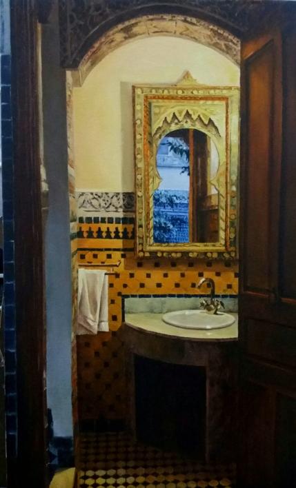 Baño en FEZ |Pintura de Carmen Nieto | Compra arte en Flecha.es
