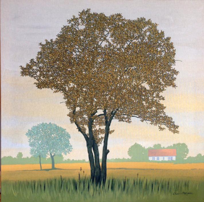 Árbol y casa de Öland |Pintura de Charlotte Adde | Compra arte en Flecha.es