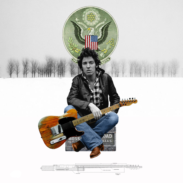 Bruce Sprignteen  Collage de Gabriel Aranguren   Compra arte en Flecha.es