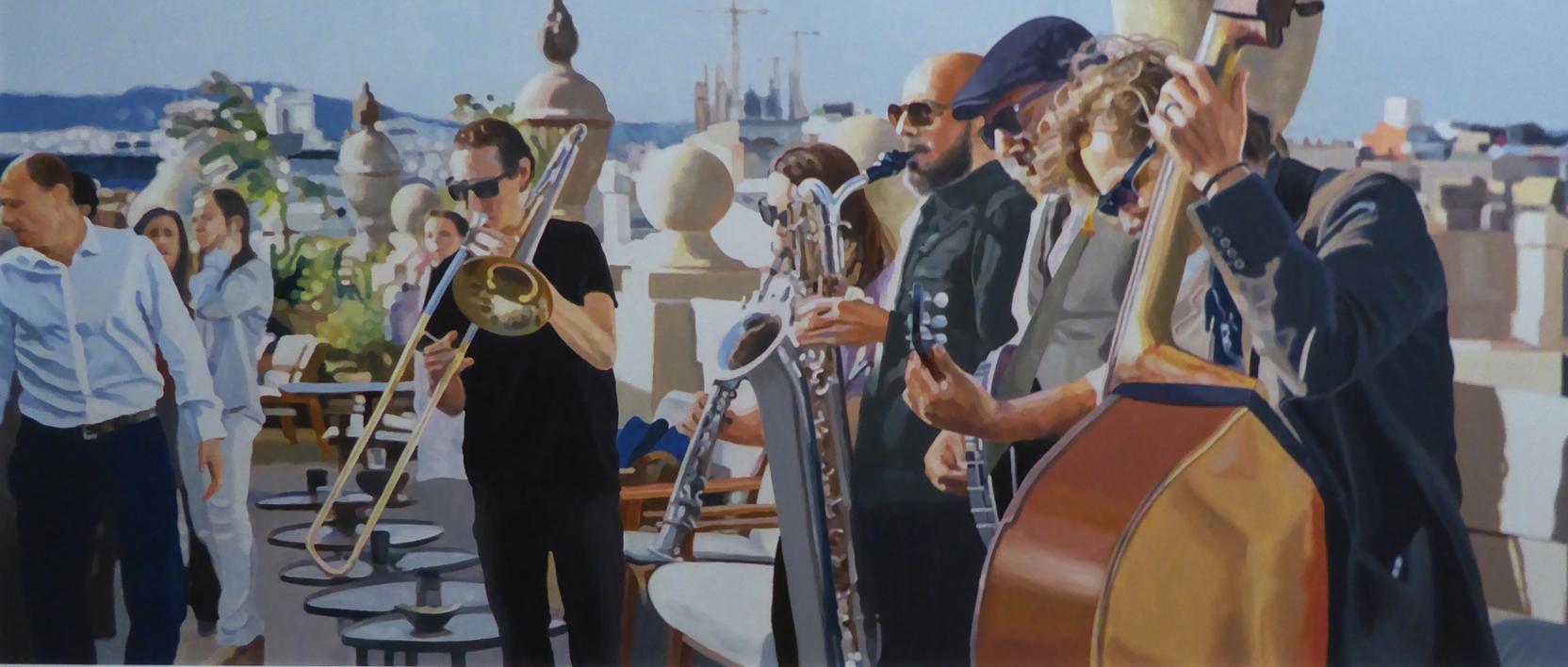 terraza con músicos |Pintura de Jose Belloso | Compra arte en Flecha.es