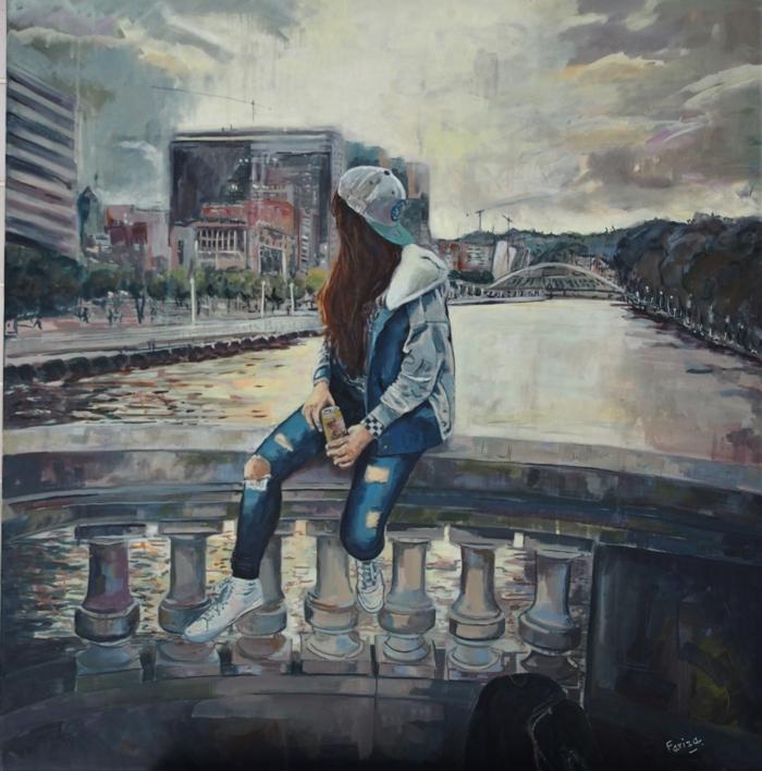 Bilbao City |Pintura de Amaya Fernández Fariza | Compra arte en Flecha.es