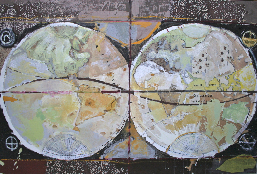 Mapa Mundi |Collage de Calonje | Compra arte en Flecha.es