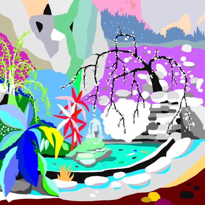 Estanque japonés |Dibujo de ALEJOS | Compra arte en Flecha.es