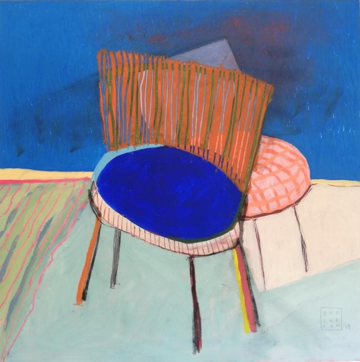 Chaise Bleue et rose |Pintura de Ana Cano Brookbank | Compra arte en Flecha.es