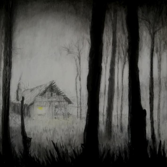 La cabaña en la niebla. |Dibujo de Rosario Rodriguez | Compra arte en Flecha.es